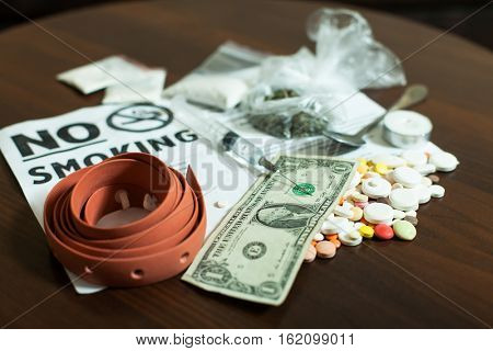 Narcotic dependence concept.