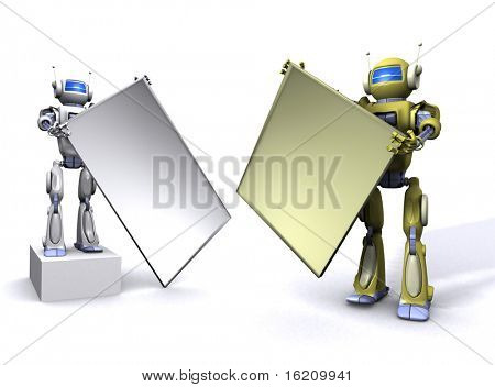 Robot holding empty billboard
