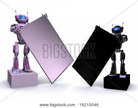 Robot holding billboard