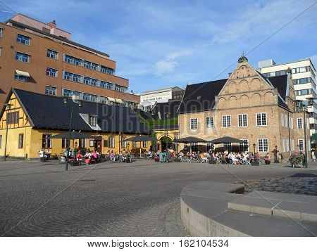 Christiania torvthe, Historic square in Oslo's old city center, Norway