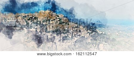 Digital watercolor painting of Gordes is a very beautiful hilltop village in France. Provence-Alpes-Cote d'Azur region. Panoramic view.