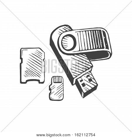 Flash memory USB and card hand drawn sketch vector illustration. Gadget and technology concept represented by icon.