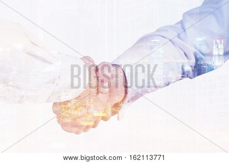 Close up of two men shaking hands. One is wearing a white shirt his colleague is wearing a blue one. 3d rendering. Toned image. Double exposure