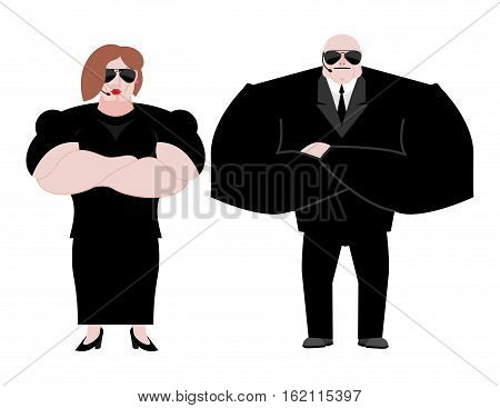 Bodyguard Marrieds Family. Husband And Wife In Black Suit And Hands-free. Security Newlyweds. Spouse
