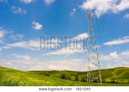 Powerline On Green Field