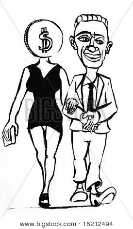 Caricature of businessman and woman