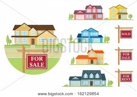 House for sale creation set. Vector flat icon suburban american house and sign for sale, sold, for rent. For web design and application interface, also useful for infographics.