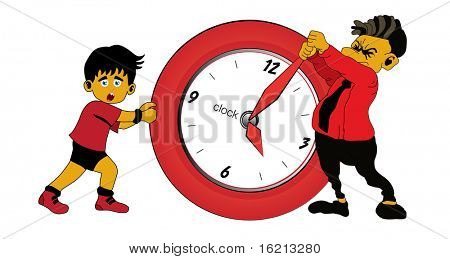Boy and businessman with clock