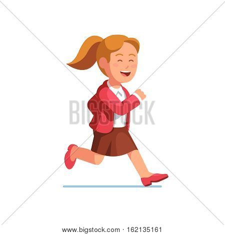 Careless and happy business woman running fast to the right side. Businesswoman trying to catch on time. Flat style vector illustration isolated on white background.