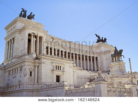 Altare della Patria National Monument to Victor Emmanuel II the first king of a unified Italy located in Rome Italy