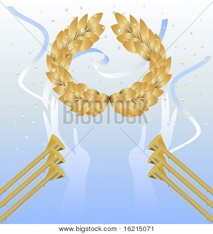 laurel wreath In hands