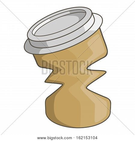 Disposable coffee paper cup garbage icon. Cartoon illustration of disposable coffee paper cup garbage vector icon for web