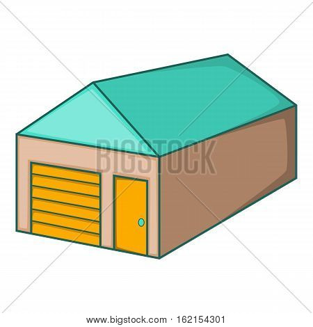 Warehouse with closed doors icon. Cartoon illustration of warehouse with closed doors vector icon for web