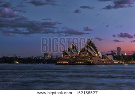 Sydney Opera House at sunset viewed from Milsons Point in North Sydney Australia.DEC 19,2016 Sydney Opera House is modern building, well known worldwide.