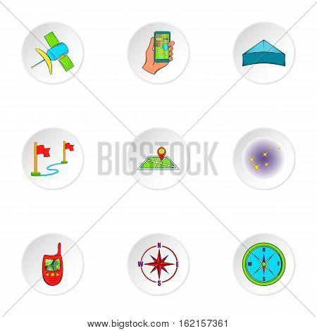 Navigation icons set. Cartoon illustration of 9 navigation vector icons for web