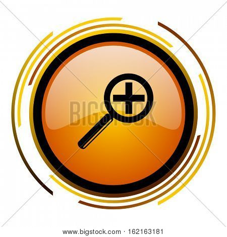 Zoom lens sign vector icon. Modern design round orange button isolated on white square background for web and application designers in eps10.