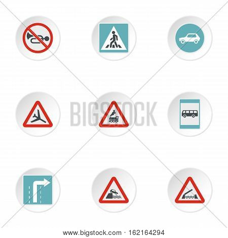 Traffic sign icons set. Flat illustration of 9 traffic sign vector icons for web