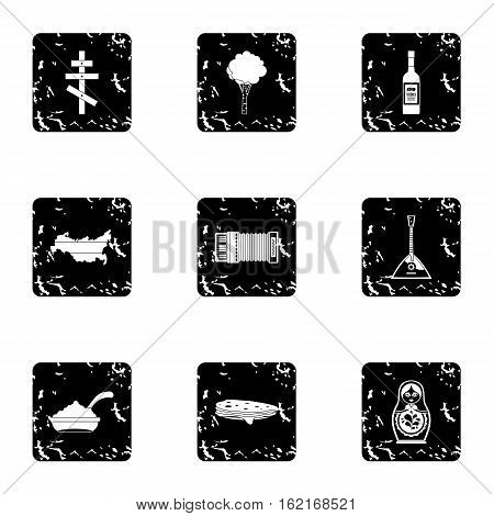 Attractions of Russia icons set. Grunge illustration of 9 attractions of Russia vector icons for web