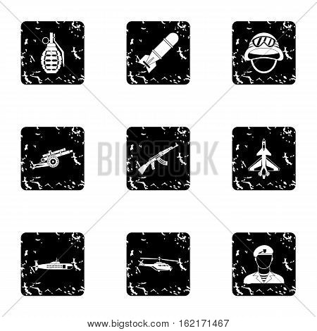 Military weapons icons set. Grunge illustration of 9 military weapons vector icons for web