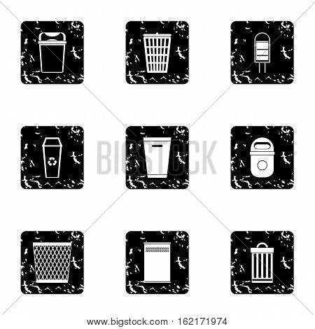 Trash can icons set. Grunge illustration of 9 trash can vector icons for web