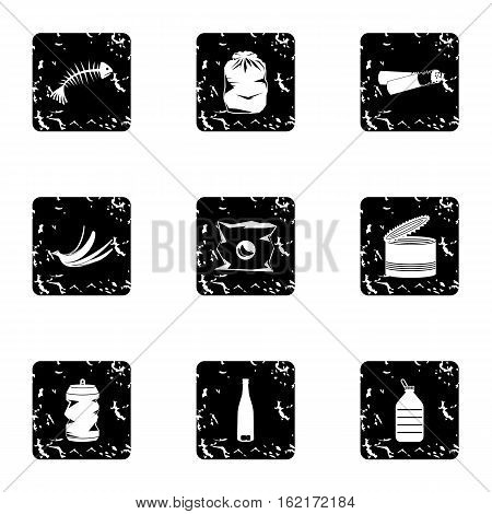 Garbage icons set. Grunge illustration of 9 garbage vector icons for web
