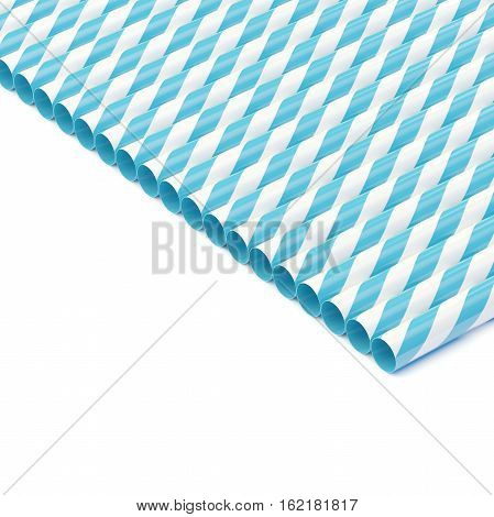 Row of drinking straws isolated on white 3d render