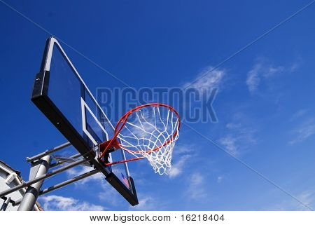 Red New Basket Ball Net Under Beautiful Blue Sky