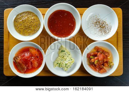 Top view of Korean sauces and condiments