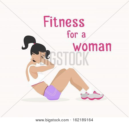 Vector girl does abdominal crunches . Flat, cartoon style woman does sit-ups, working out her abdominal muscles. fitness, active lifestyle illustration. Print banner poster design element