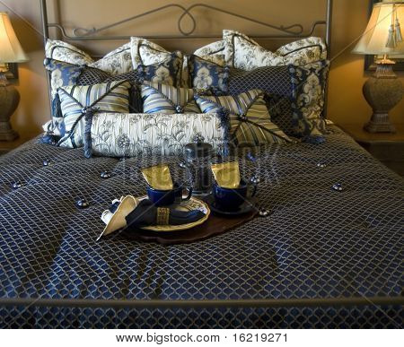 Beautiful Bed with Tea Tray Service