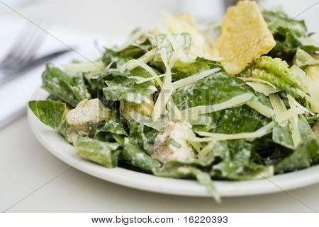 Close up of Caesar Salad  at a high end restaurant