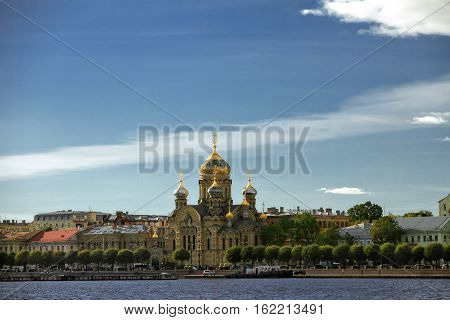 Lieutenant Schmidt embankment and an Orthodox Church in St. Petersburg