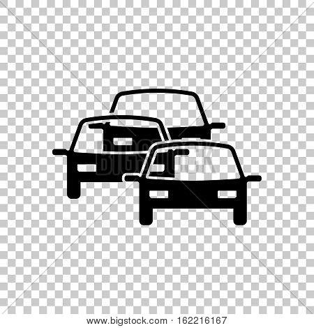 Traffic Jam Icon. Black Icon On Transparent Background.