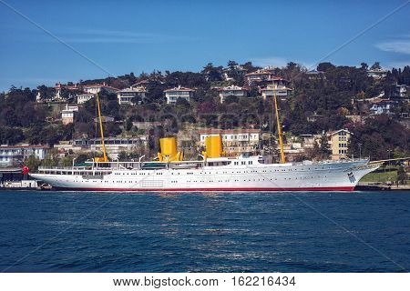 ISTANBUL - APRIL 16 2015: Savarona yacht at Kurucesme port. Savarona was the largest yacht when launched in 1931. The Turkish government bought the yacht for Mustafa Kemal Ataturk