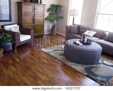 Bright modern interior Design with hard wood flooring