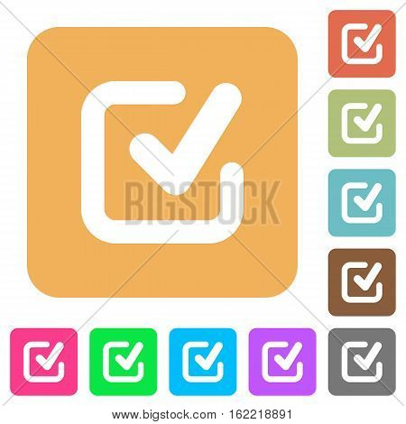 Checkmark icons on rounded square vivid color backgrounds.