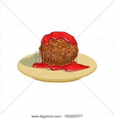 Gian Meatball With Tomato Salsa Traditional Mexican Cuisine Dish Food Item From Cafe Menu Vector Illustration. Part Of Collection Of National Meal From Mexico Vector Cartoon Illustrations.