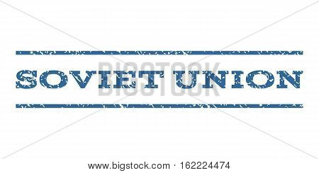 Soviet Union watermark stamp. Text tag between horizontal parallel lines with grunge design style. Rubber seal stamp with unclean texture. Vector cobalt color ink imprint on a white background.