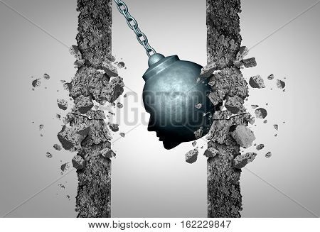 Change thinking concept as a wrecking ball shaped as a human head destroying boundaries and limitations as a business metaphor for transformative intelligence or medical migraine pain and headache symbol with 3D illustration elewments.