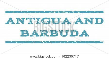 Antigua and Barbuda watermark stamp. Text tag between horizontal parallel lines with grunge design style. Rubber seal stamp with unclean texture. Vector cyan color ink imprint on a white background.