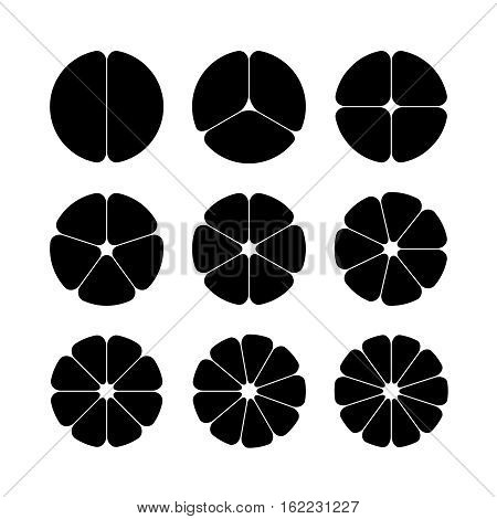 Circle segments set. Various number of sectors divide the circle on equal parts. From 2 to 10. Black flat fill. Rounded corners.