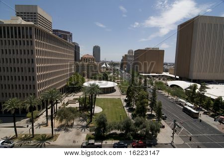 View of downtown phoenix Arizona financial and entertainment area