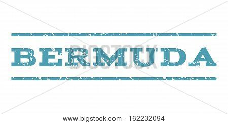 Bermuda watermark stamp. Text caption between horizontal parallel lines with grunge design style. Rubber seal stamp with dust texture. Vector cyan color ink imprint on a white background.