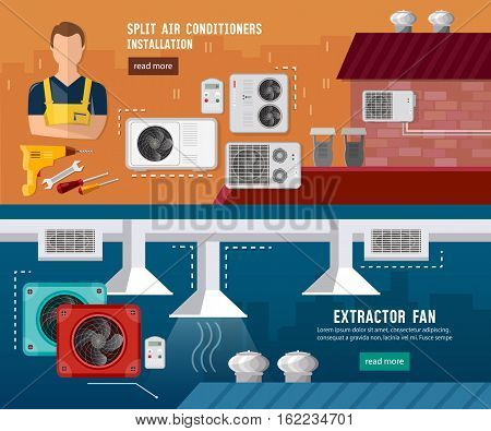 Installation of air conditioners split system check ventilation systems air conditioner installment and air conditioning repair vector banner