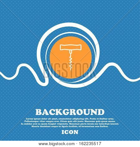 Corkscrew Icon Sign. Blue And White Abstract Background Flecked With Space For Text And Your Design.