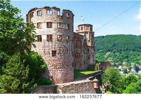 Castle Heidelberg in Germany, Europe.   Digital illustration in draw, sketch style.