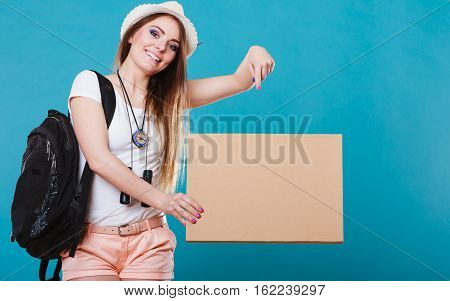 Summer Traveler Woman Hitchhiking With Blank Sign