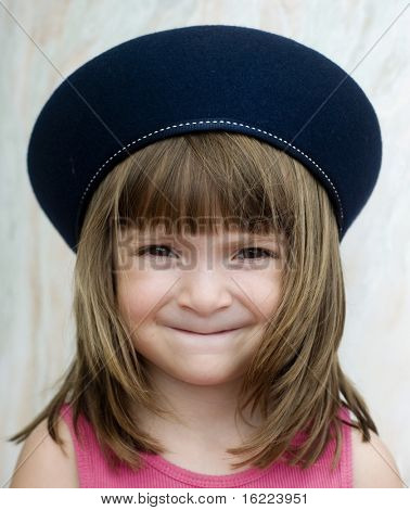 Girl wearing french beret