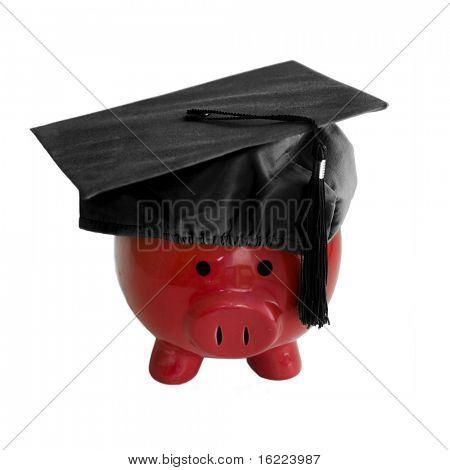 Piggy Bank with college graduation cap