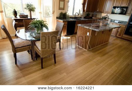 Home interior with hardwood flooring